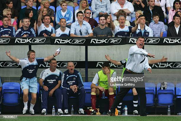 Newcastle United Manager Sam Allardyce shows frustration from the touchline during the Barclays Premiership match between Bolton Wanderers and...