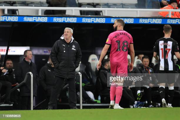 Newcastle United manager Steve Bruce during the FA Cup match between Newcastle United and Rochdale at St James's Park Newcastle on Tuesday 14th...