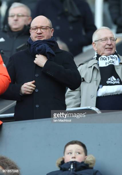 Newcastle United managing director Lee Charnley looks on during the The Emirates FA Cup Third Round match between Newcastle United and Luton Town at...