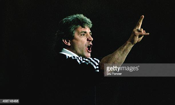 Newcastle United mananger Kevin Keegan reacts during the 21 Premier League defeat to Blackburn Rovers at Ewood Park on April 8 1996 in Blackburn...