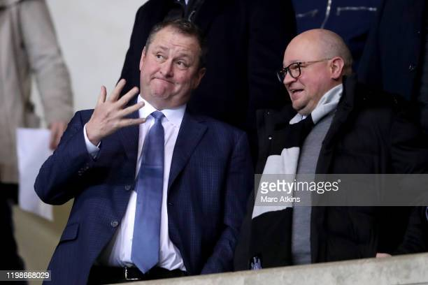Newcastle United owner Mike Ashley and Lee Charnley Newcastle United's managing director during the FA Cup Fourth Round Replay match between Oxford...