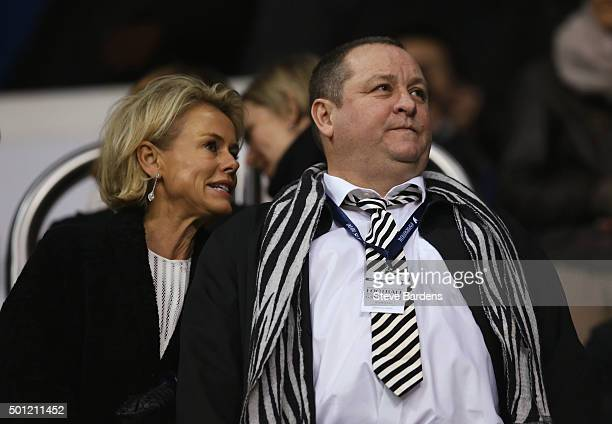 Newcastle United owner Mike Ashley and Linda Ashley look on from the stand prior to the Barclays Premier League match between Tottenham Hotspur and...