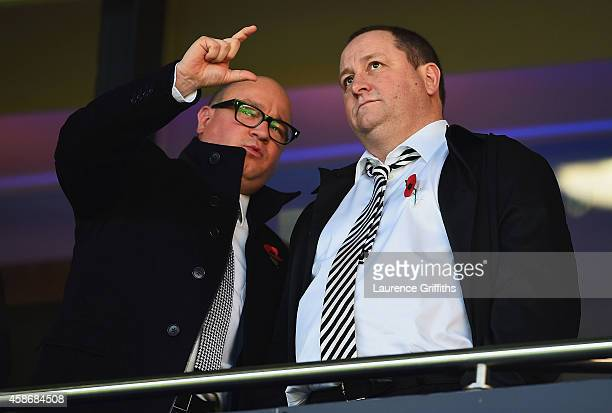 Newcastle United owner Mike Ashley in discussion with managing director Lee Charnley prior to the Barclays Premier League match between West Bromwich...