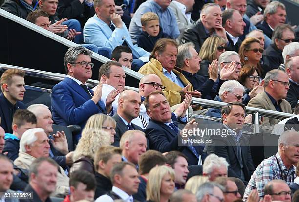 Newcastle United owner Mike Ashley is seen on the stand during the Barclays Premier League match between Newcastle United and Tottenham Hotspur at St...
