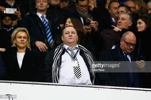 Newcastle United owner Mike Ashley Linda Ashley and managing director Lee Charnley look on from the stand prior to the Barclays Premier League match...