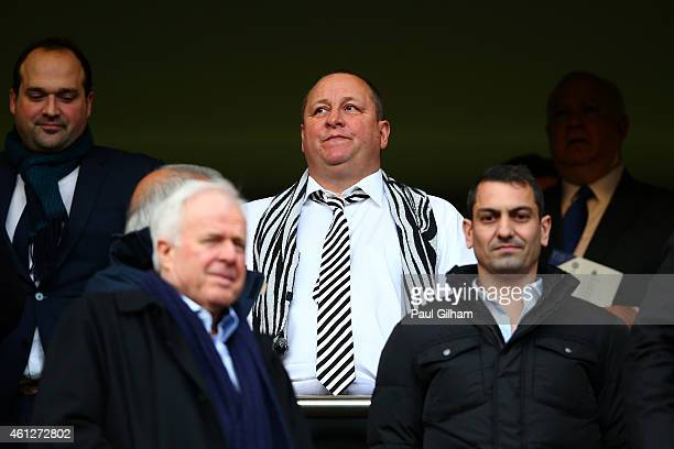 Newcastle United owner Mike Ashley looks on before the Barclays Premier League match between Chelsea and Newcastle United at Stamford Bridge on...