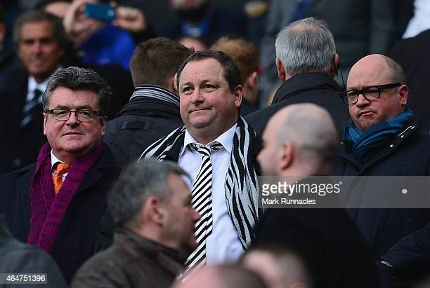 Newcastle United owner Mike Ashley looks on during the Barclays Premier League match between Newcastle United and Aston Villa at St James' Park on...
