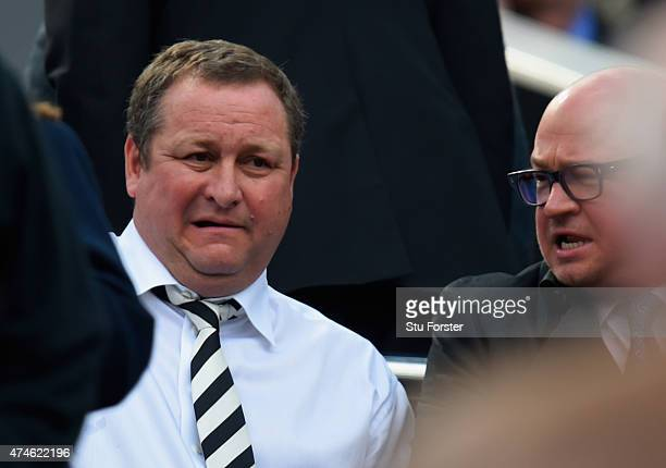 Newcastle United owner Mike Ashley looks on during the Barclays Premier League match between Newcastle United and West Ham United at St James' Park...