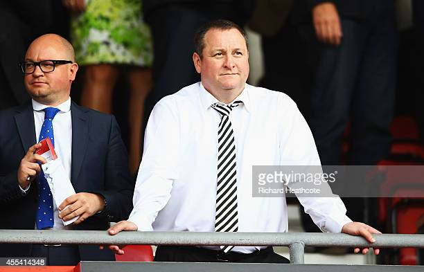 Newcastle United owner Mike Ashley looks on prior to the Barclays Premier League match between Southampton and Newcastle United at St Mary's Stadium...
