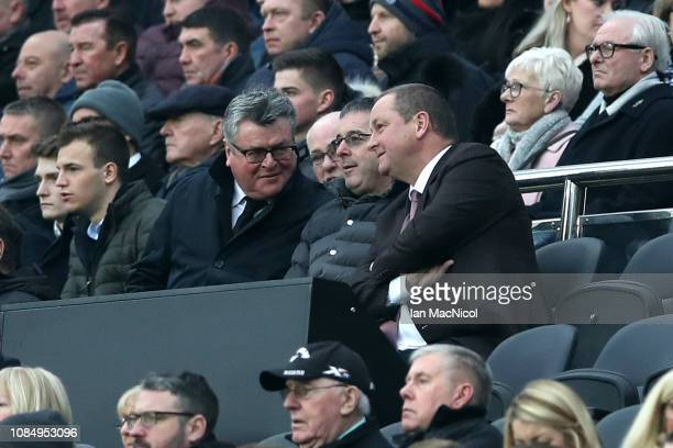 Newcastle United owner Mike Ashley looks on prior to the Premier League match between Newcastle United and Cardiff City at St James Park on January...