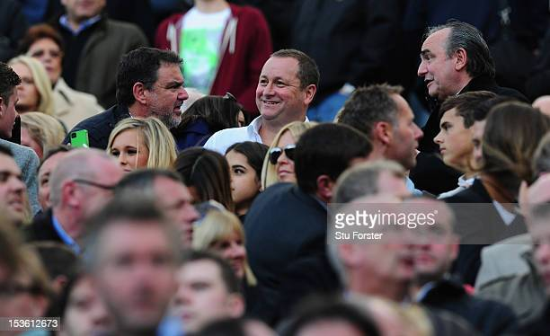 Newcastle United owner Mike Ashley raises a smile before the Barclays Premier league game between Newcastle United and Manchester United at Sports...