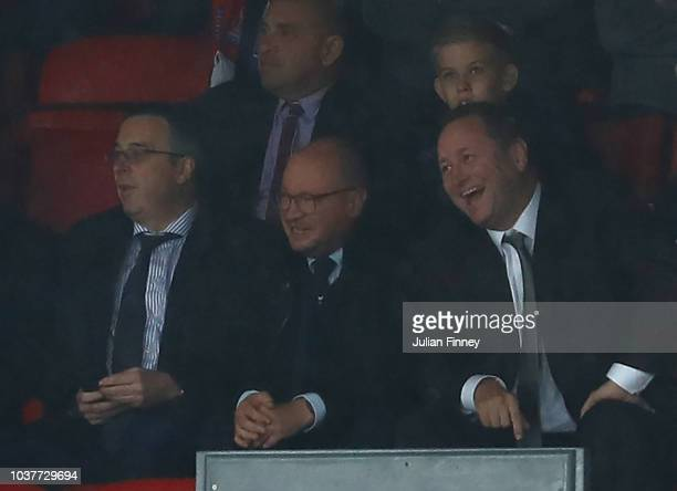 Newcastle United owner Mike Ashley watches on during the Premier League match between Crystal Palace and Newcastle United at Selhurst Park on...