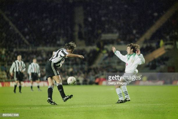 Newcastle United player David Ginola juggles the ball before volleying home a superb goal for Newcastle United during their UEFA Cup 2nd Round 2nd...
