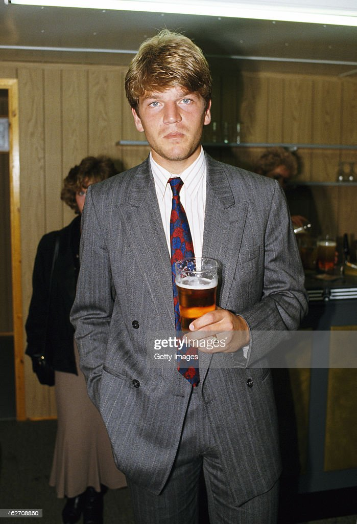 Newcastle United player Glyn Hodges pictured with a pint in the players lounge, after the League Divison One match between Newcastle and Wimbledon at St James' Park on September 5, 1987 in Newcastle England, Hodges who had arrived from Wimbledon, played only 7 times for the Magpies before moving back down south to Watford.