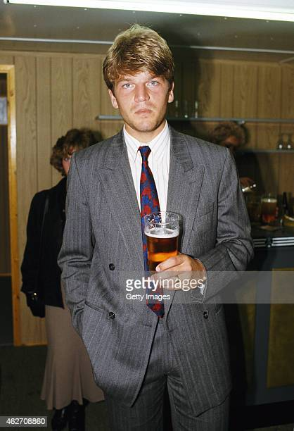 Newcastle United player Glyn Hodges pictured with a pint in the players lounge after the League Divison One match between Newcastle and Wimbledon at...