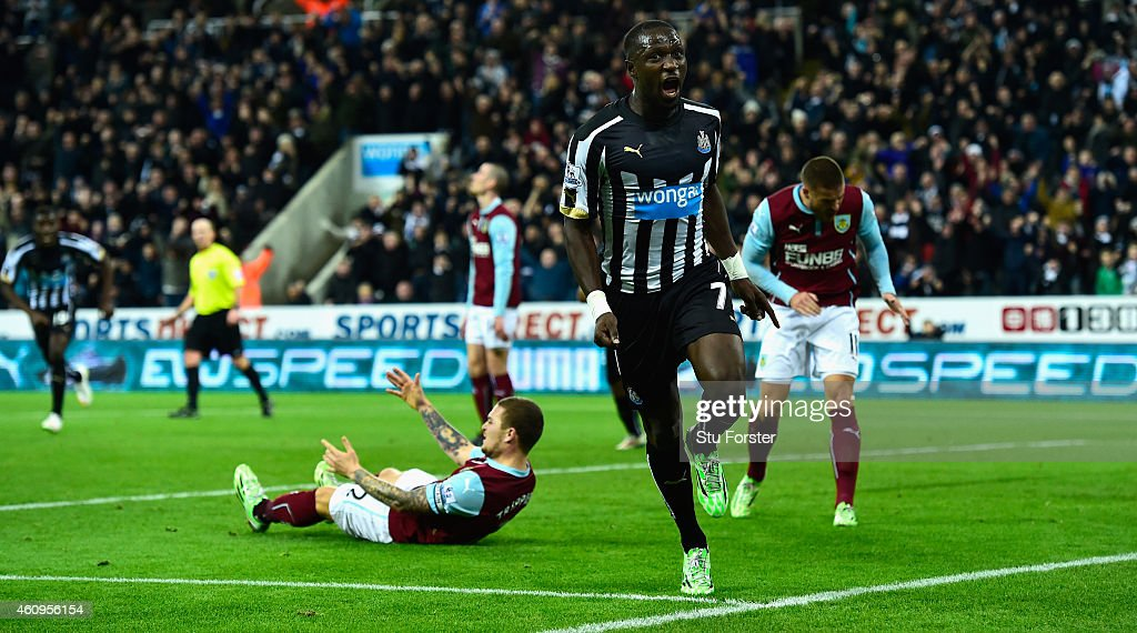 Newcastle United player Moussa Sissoko celebrates after scoring their third goal during the Barclays Premier League match between Newcastle United and Burnley at St James' Park on January 1, 2015 in Newcastle upon Tyne, England.