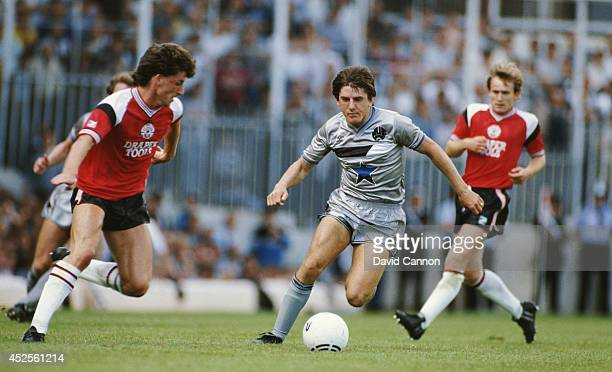 Newcastle United player Peter Beardsley in action against Southampton during a Canon League Division One match at the Dell on August 17 1985 in...