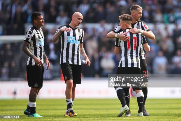 Newcastle United players celebrate at full time during the Premier League match between Newcastle United and Arsenal at St James Park on April 15...