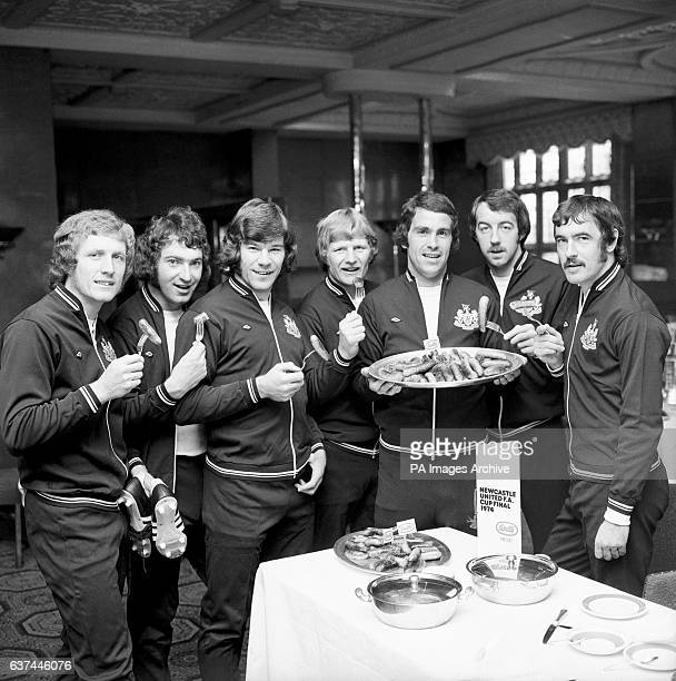 Newcastle United players get stuck into some Wall's sausages five days before the FA Cup Final Pat Howard Tommy Cassidy Malcolm MacDonald Iam McFaul...