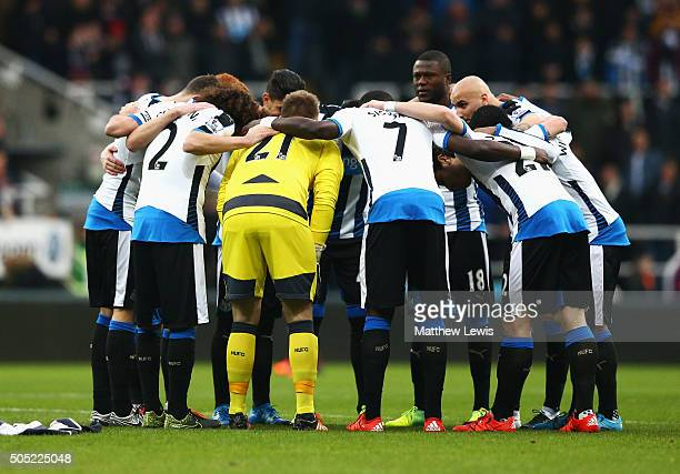 Newcastle United players huddle prior to the Barclays Premier League match between Newcastle United and West Ham United at St James' Park on January...