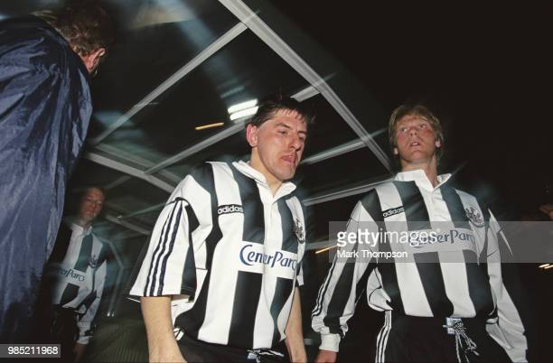 Newcastle United players Peter Beardsley Warren Barton and David Batty emerge from the players tunnel wearing the Center Parcs logo on their shirts...