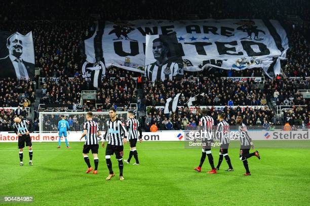 Newcastle United players walk on the pitch during the Premier League match between Newcastle United and Swansea City at StJames' Park on January 13...
