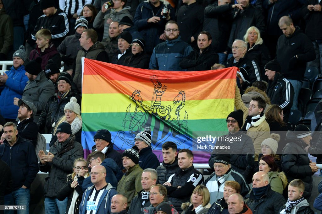 Newcastle United rainbow flag is seen prior to the Premier League match between Newcastle United and Watford at St. James Park on November 25, 2017 in Newcastle upon Tyne, England.