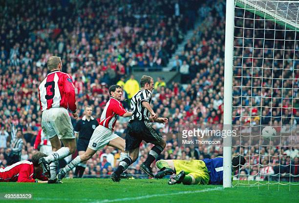 Newcastle United striker Alan Shearer scores the winning goal during the FA Cup Semi Final between Newcastle United and Sheffield United at Old...