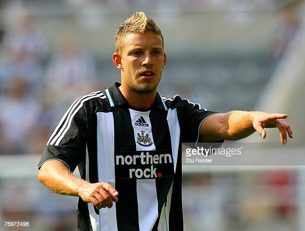 Newcastle United striker Alan Smith calls for the ball during the Friendly Match between Newcastle United and Sampdoria at St James' Park on August...