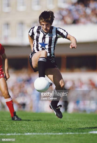 Newcastle United striker Peter Beardsley in action during a First Division match against Liverpool at St James' Park on August 24 1985 in Newcastle...