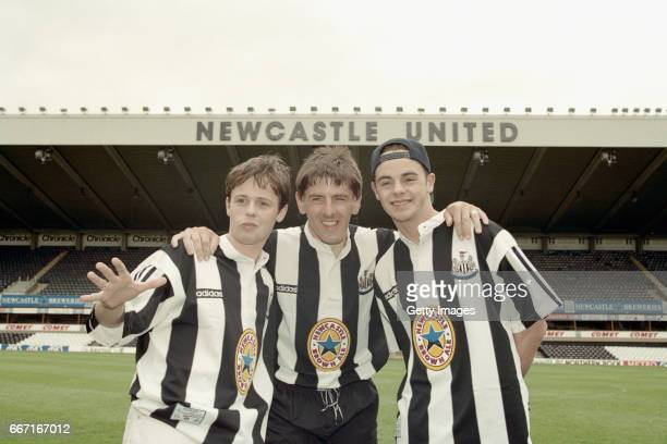 Newcastle United striker Peter Beardsley is joined by entertainers Ant and Dec at the launch at St James' Park on May 10 1995 of the new adidas...