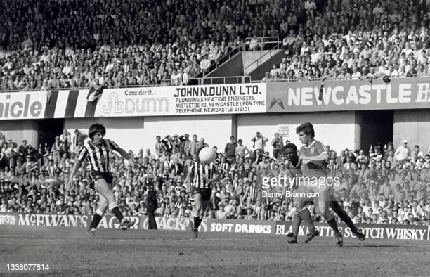 Newcastle United striker Peter Beardsley shoots to score the third Newcastle goal against Brighton & Hove Albion during the Division Two match at St...