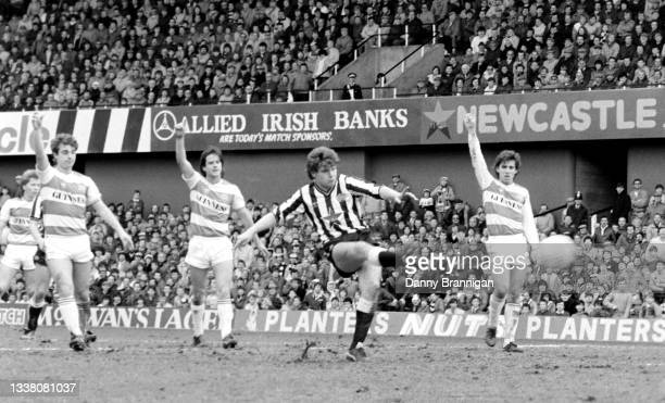 Newcastle United substitute Paul Gascoigne shoots at goal as the Queens Park Rangers defence appeal for offside during Gascoigne's Division One...