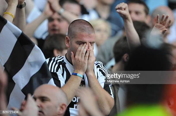 Newcastle United supporter pictured after his team is relegated