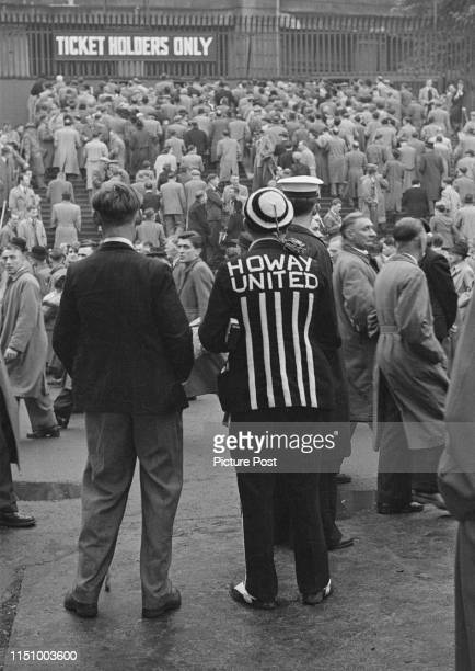 Newcastle United supporters amongst the crowd for the 1952 FA Cup Final between Newcastle United and Arsenal at Wembley Stadium London 3rd May 1952...
