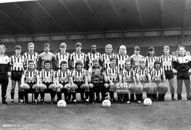 Newcastle United team 1986/87 unveiled Back row left to right Coach Colin Suggett Kenny Wharton Paul Tinnion Martin Thomas Neil McDonald Billy...