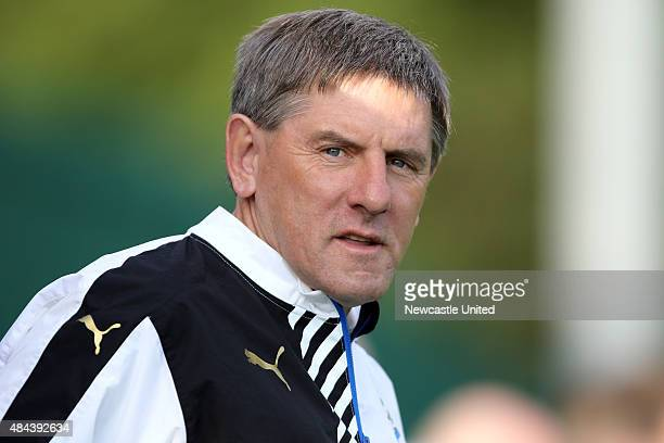 Newcastle United U21 manager Peter Beardsley watches the match between Newcastle United and Blackburn Rovers U21 on August 17 2015 in Newcastle upon...