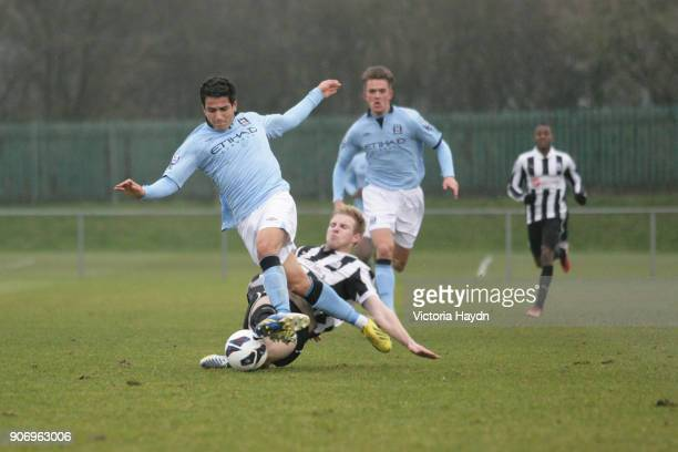 Newcastle United U21's v Manchester City U21's Whitley Park in Benton Manchester City's Marcos Lopes