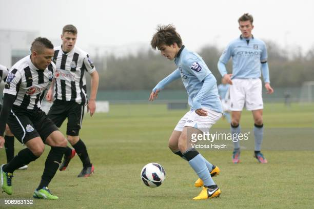 Newcastle United U21's v Manchester City U21's Whitley Park in Benton Manchester City's Denis Suarez