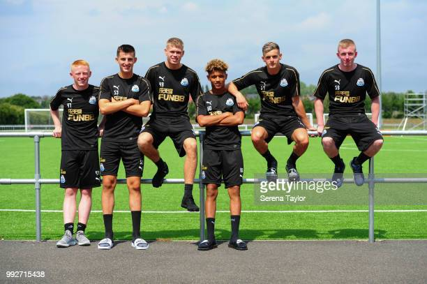 Newcastle United U23 players seen LR Matty Longstaff Kelland Watts Lewis Cass Adam Wilson Tom Allan and Oliver Walters pose for a photograph after...