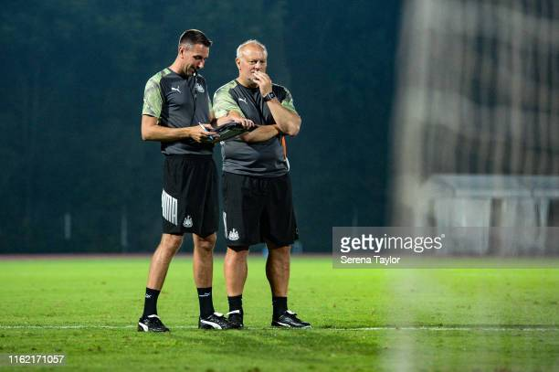 Newcastle United's Academy Head of Coaching Ben Dawson and Head of Under 23's Coach Neil Redfearn during the Newcastle United Training session at...
