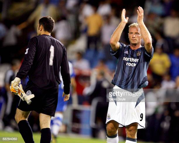 Newcastle United's Alan Shearer applauds fans at the end of an Intertoto semi-final, 1st leg match between Deportivo La Coruna and Newcastle United...