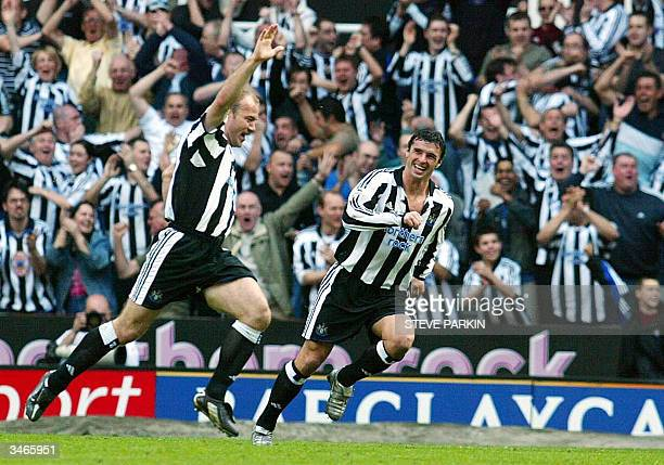 Newcastle United's Alan Shearer celebrates with Gary Speed after scoring against Chelsea during their premiership football match at St James Park in...