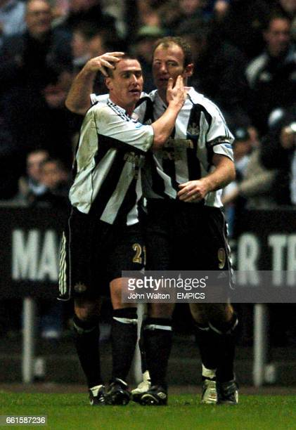 Newcastle United's Alan Shearer is congratulated on scoring the only goal of the game by teammate Lee Clark