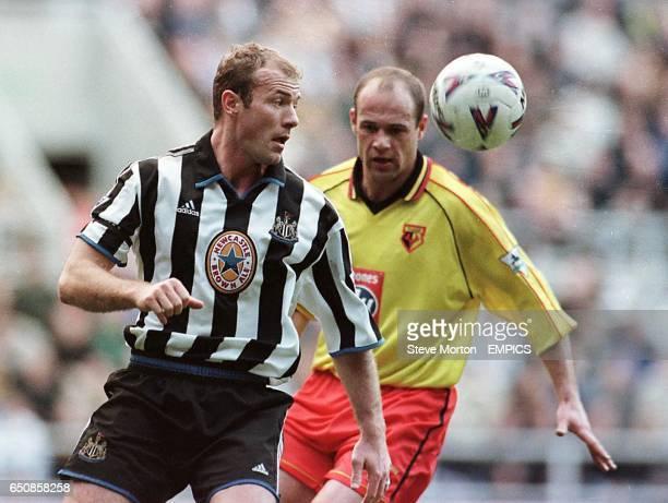 Newcastle United's Alan Shearer is shadowed by Watford's Steve Palmer