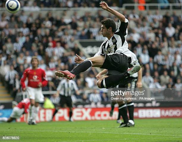 Newcastle United's Alberto Luque shoots with a volley against Manchester United during the FA Barclays Premiership match at St James Park Newcastle...