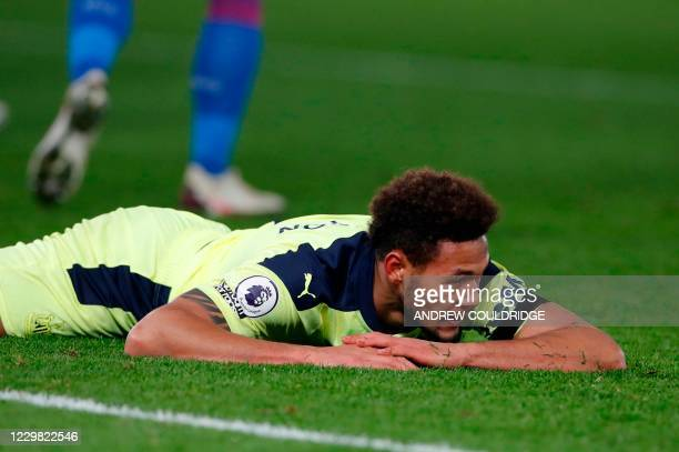 Newcastle United's Brazilian striker Joelinton reacts after missing a chance during the English Premier League football match between Crystal Palace...