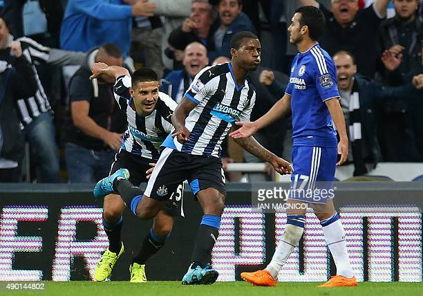 Newcastle United's Dutch midfielder Georginio Wijnaldum celebrates after scoring their second goal during the English Premier League football match...
