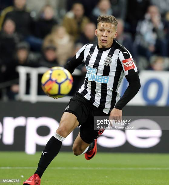 Newcastle United's Dwight Gayle during the Premier League match between Newcastle United and Leicester City at St James Park on December 9 2017 in...