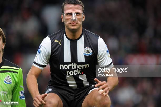 Newcastle United's English defender Steven Taylor lines up before the English Premier League football match between Manchester United and Newcastle...